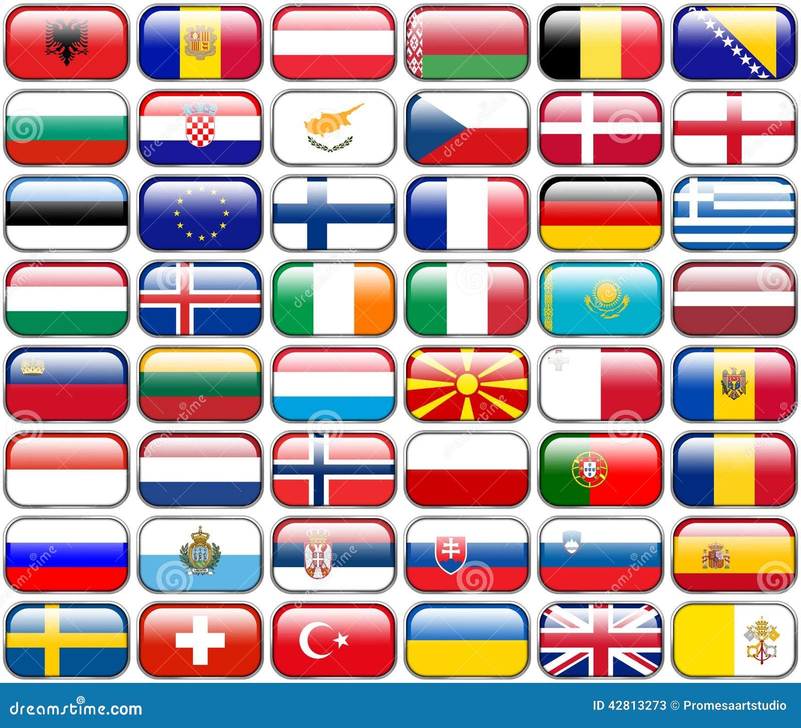 Todas las banderas del europeo - botones brillantes del rectángulo