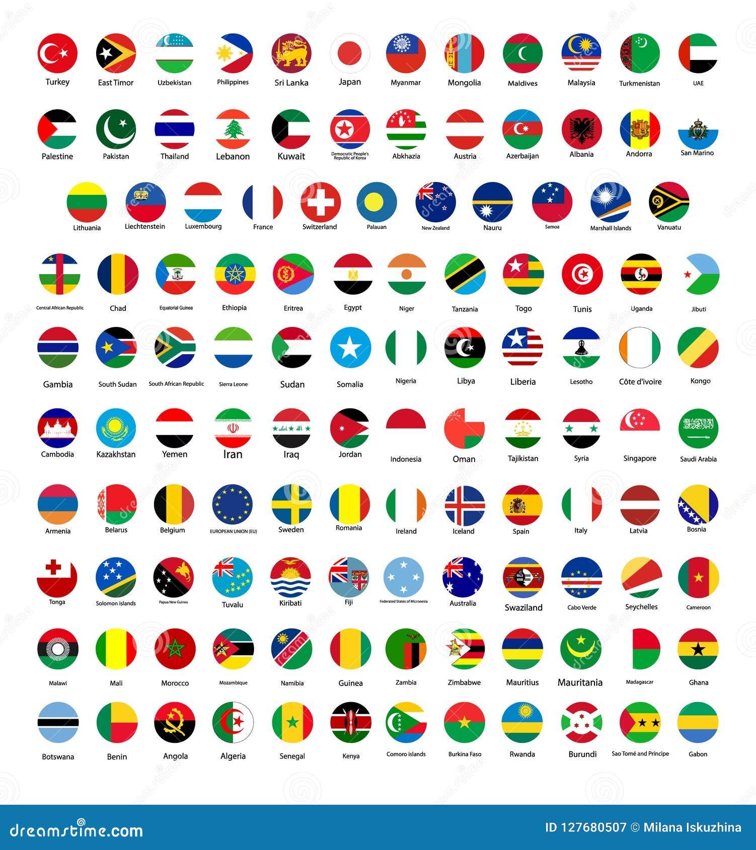Todas las banderas nacionales oficiales del mundo Diseño circular