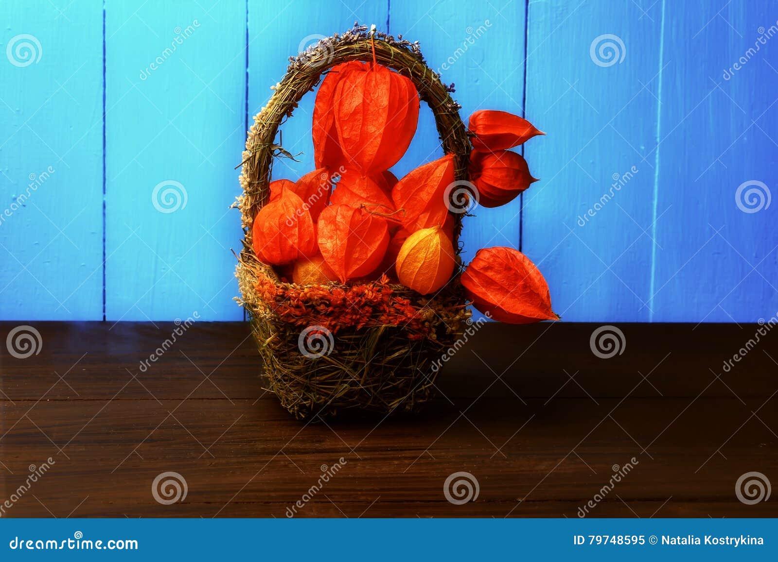 Todavía del otoño vida en un physalis rústico retro del estilo del fondo de madera en una cesta