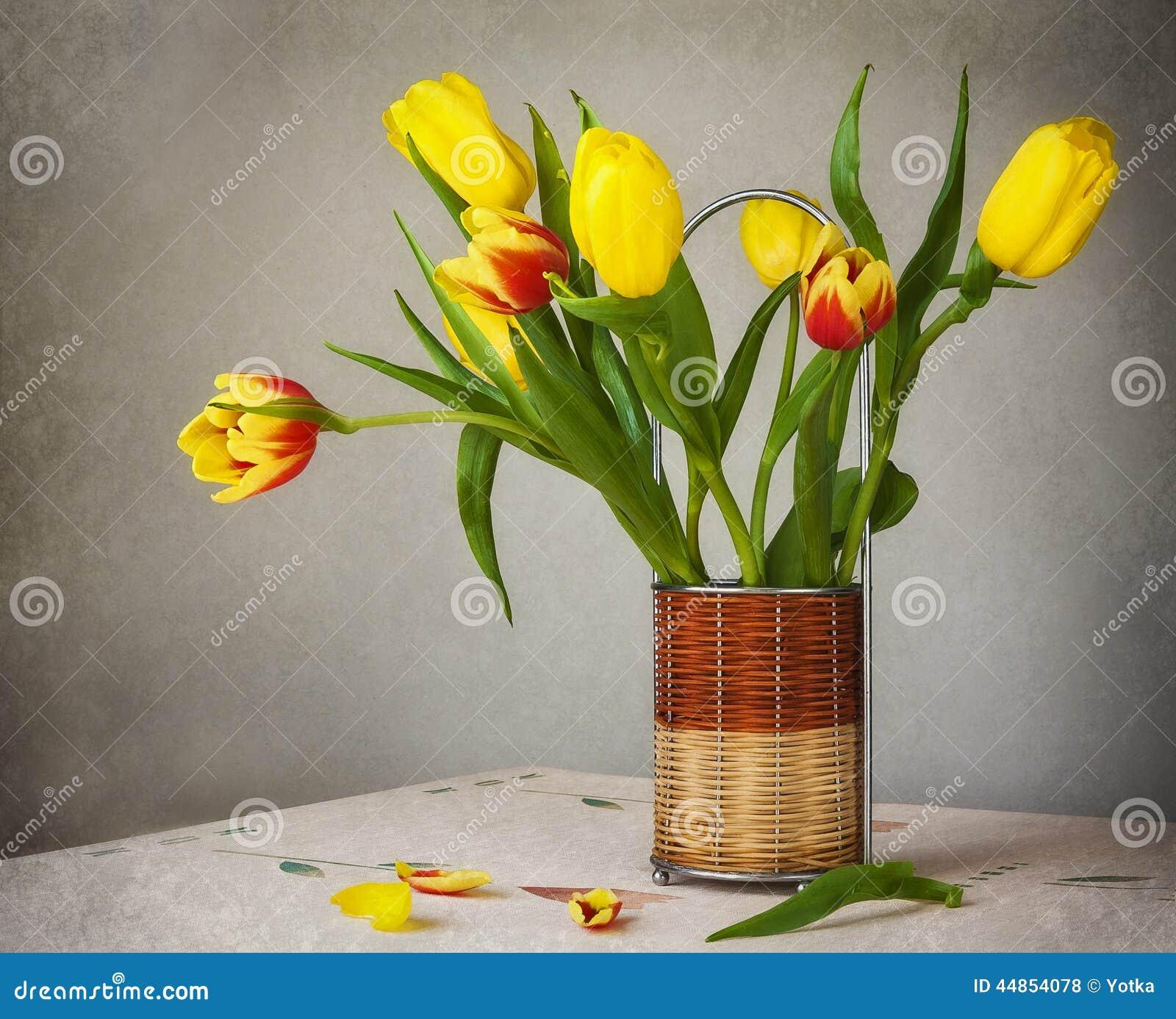 Todavía tulipanes del amarillo del ramo de la vida