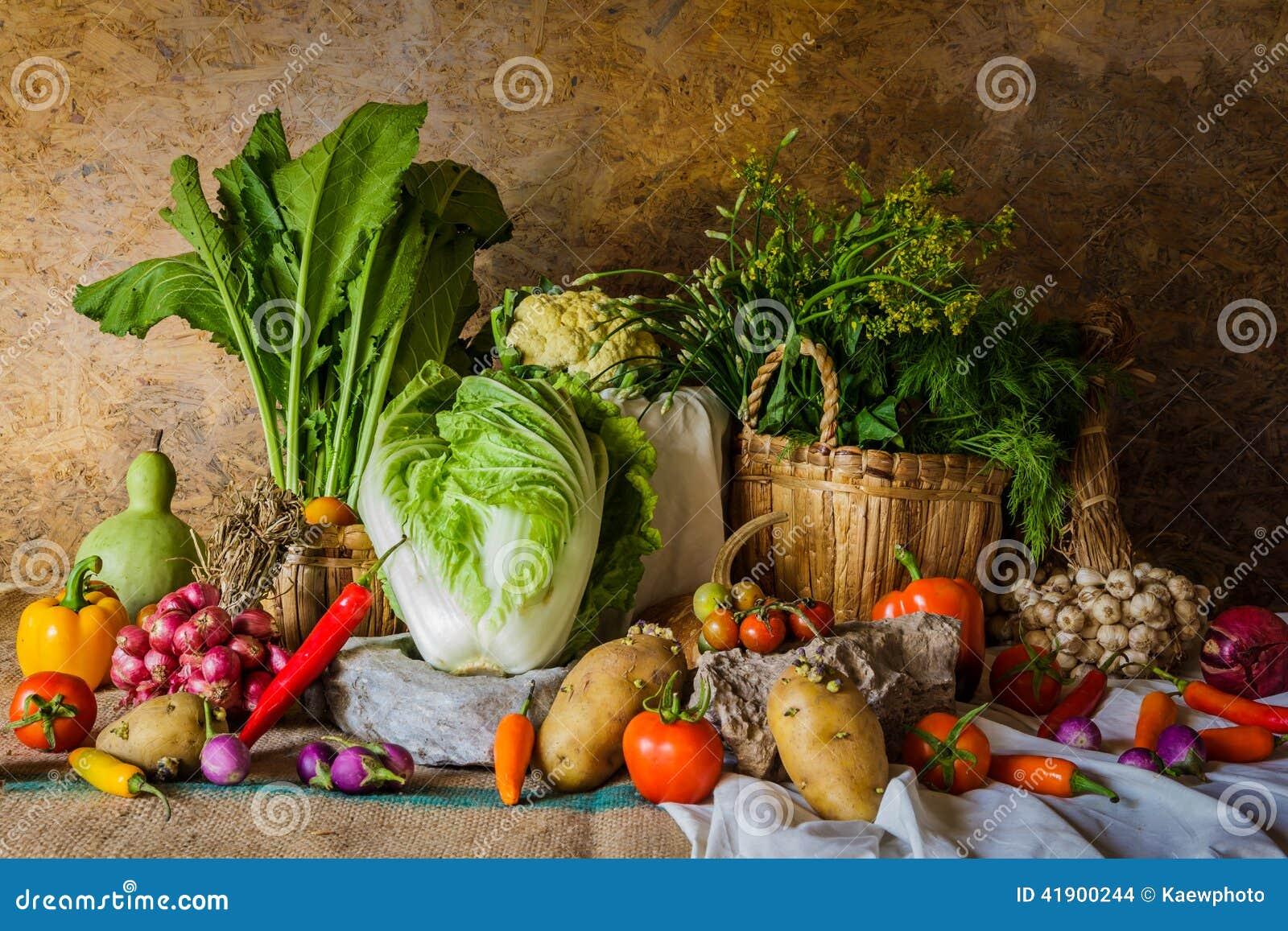Todavía verduras, hierbas y frutas de la vida