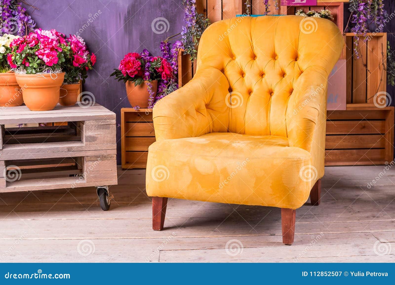 Todavía vida de la silla del vintage en sala de estar Salón de la terraza con la silla amarilla cómoda del brazo, divanes en una