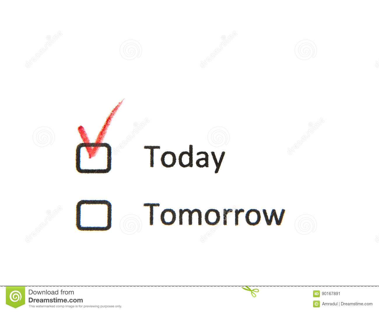 Today check box checked not tomorrow stock image image of royalty free stock photo biocorpaavc Gallery