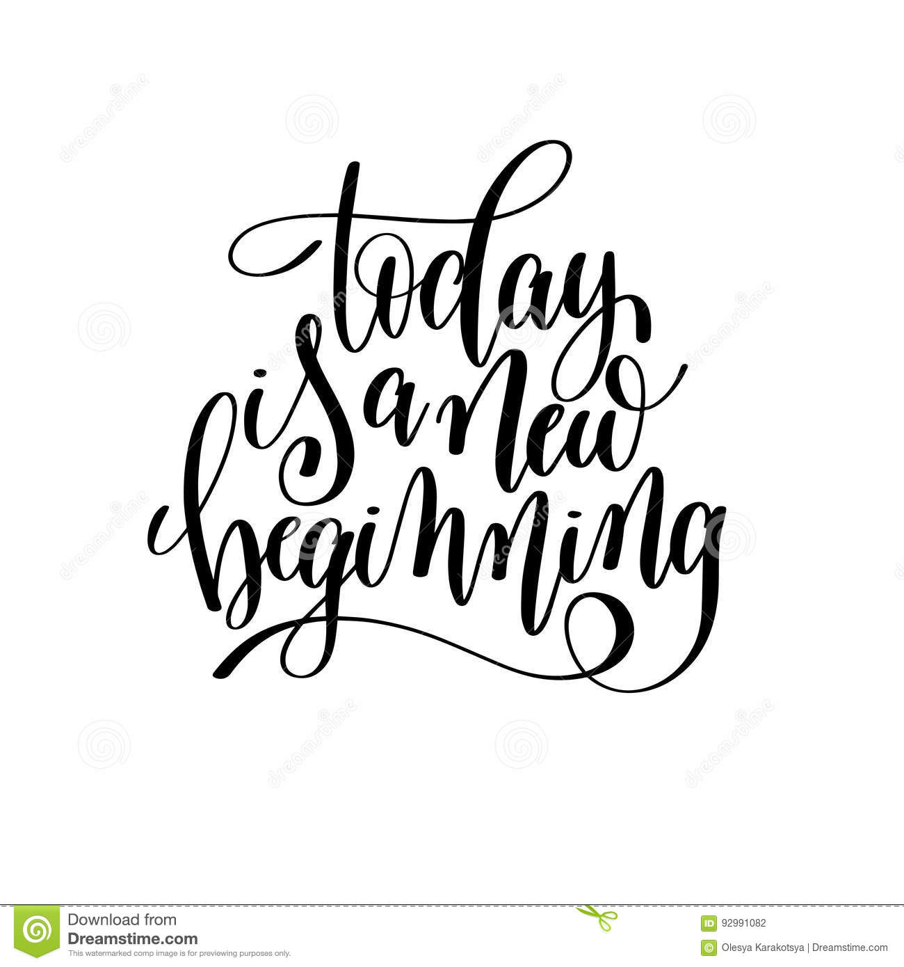 Inspiring Clipart New Beginning: Today Is A New Beginning Black And White Hand Written