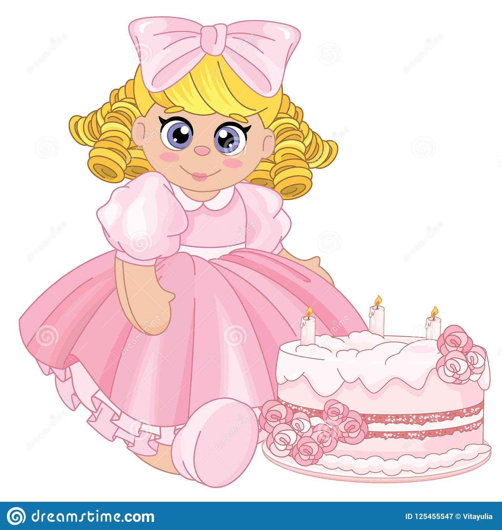 Toddler Baby Girl Playing Tea Party With A Birthday Cake
