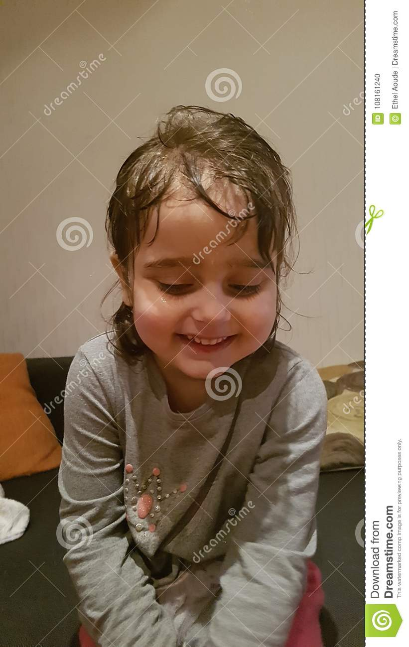Toddler after bath stock photo. Image of toddler, hair - 108161240