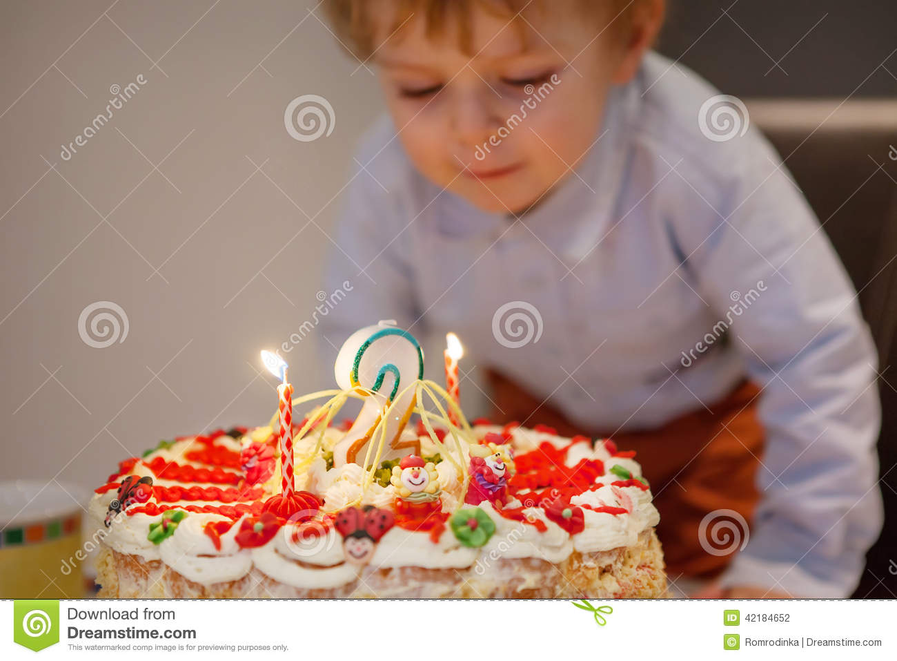 Cute Toddler Boy Blowing Candles On His 2 Birthday Cake