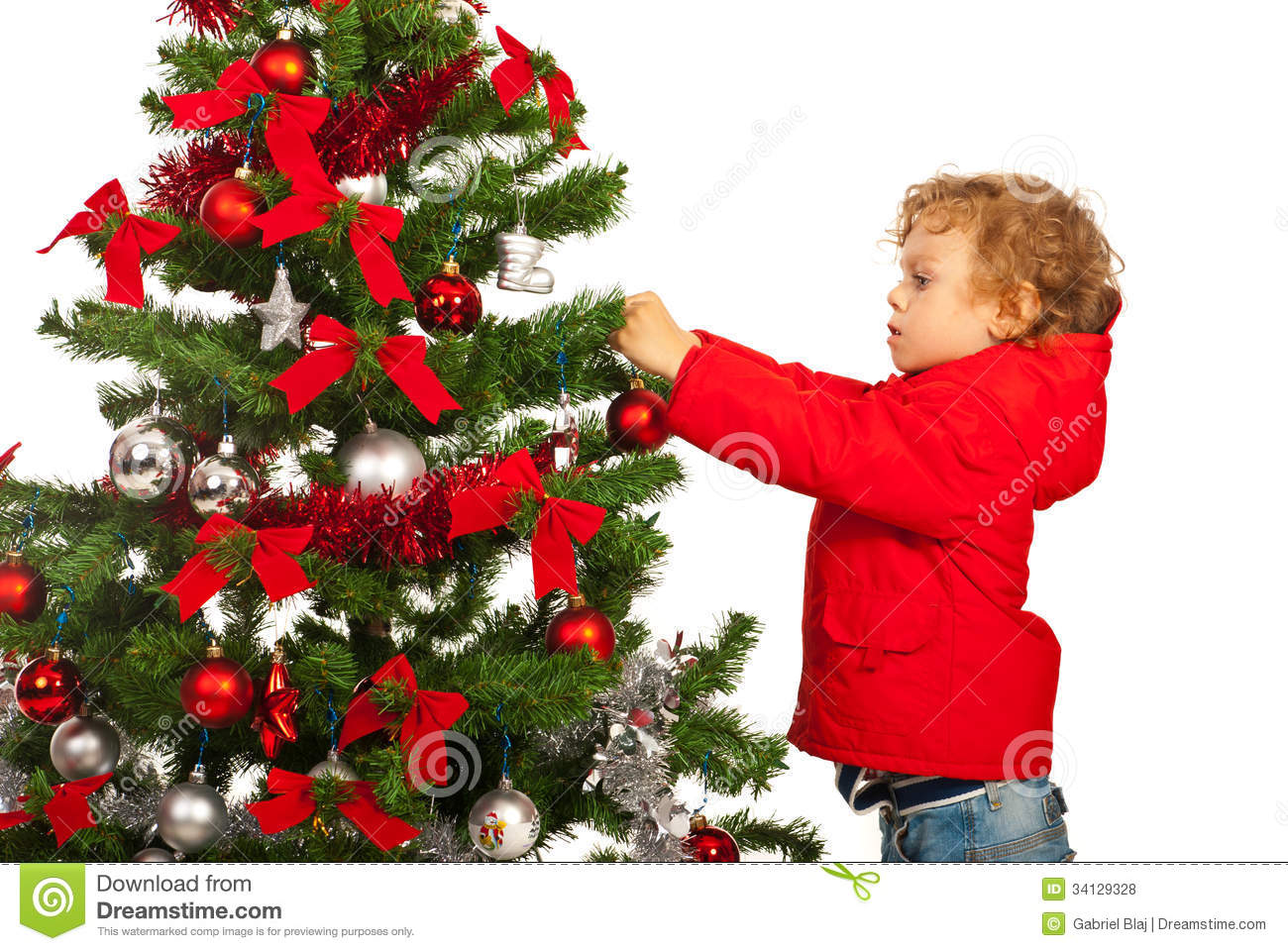 toddler boy decorate christmas tree isolated white background 34129328