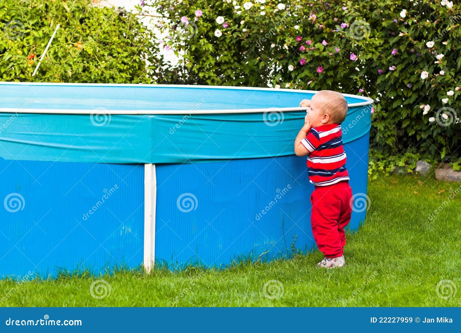 Toddler Boy Exploring Garden Swimming Pool Royalty Free Stock Images Image 22227959