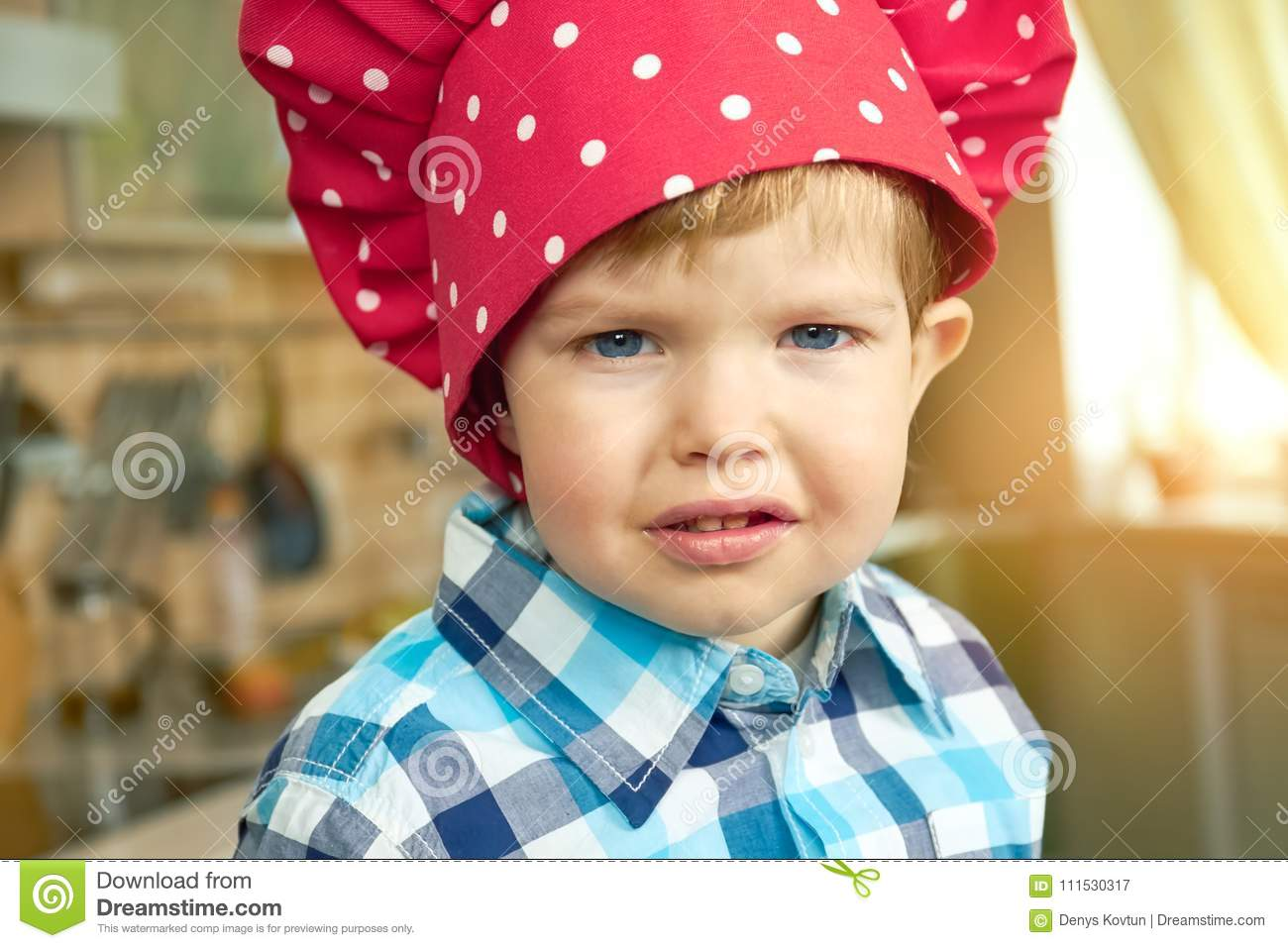 fe482f94014 Toddler in chef hat. stock image. Image of cook