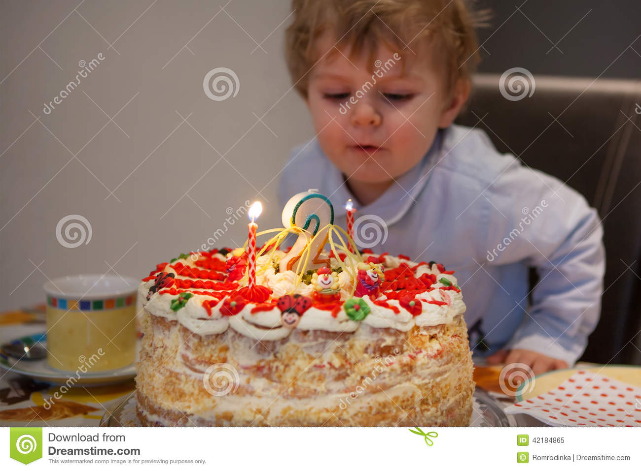Toddler Child Blowing Candles On His 2 Birthday Cake Stock Image