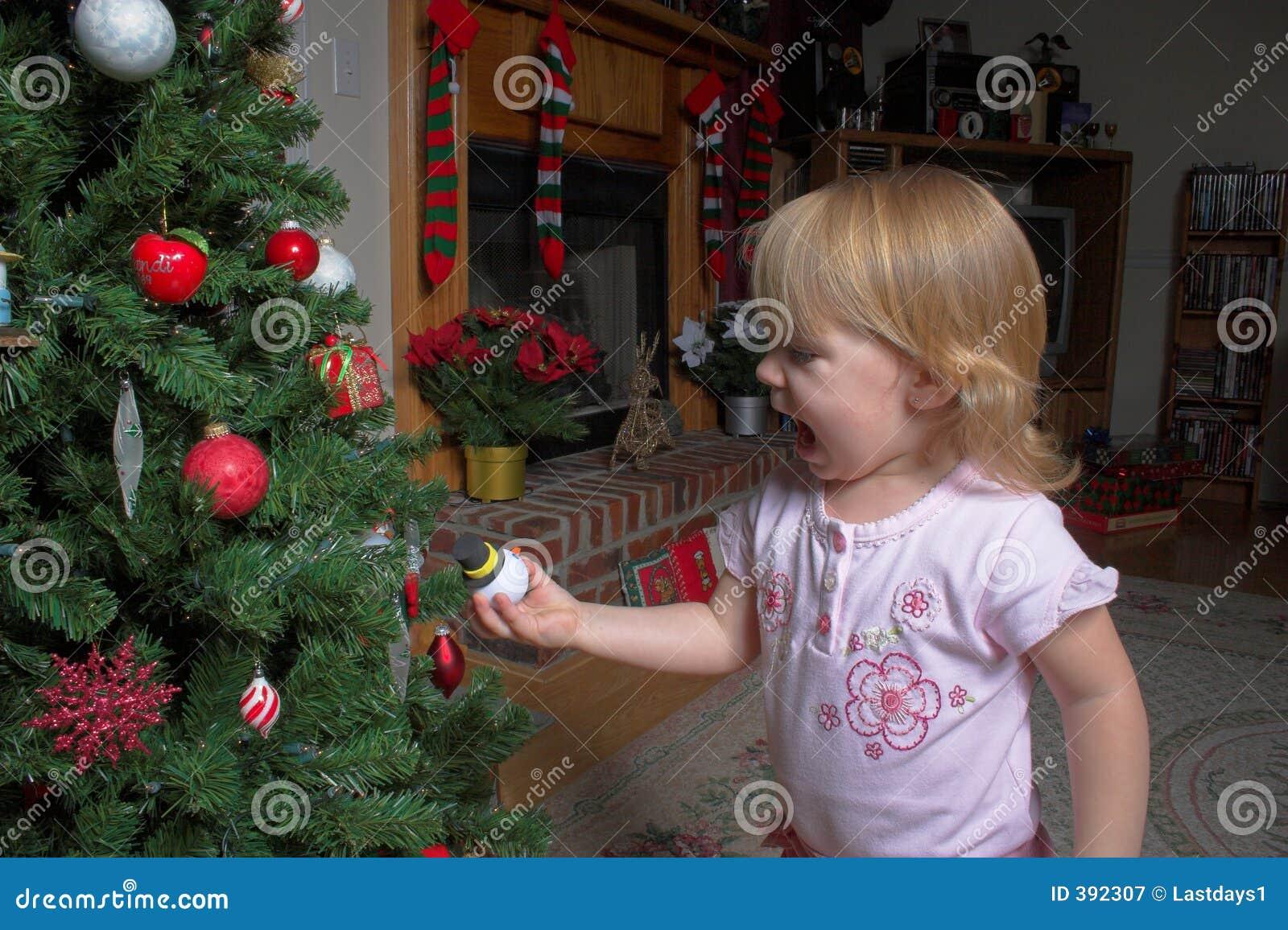 Toddler and Christmas tree