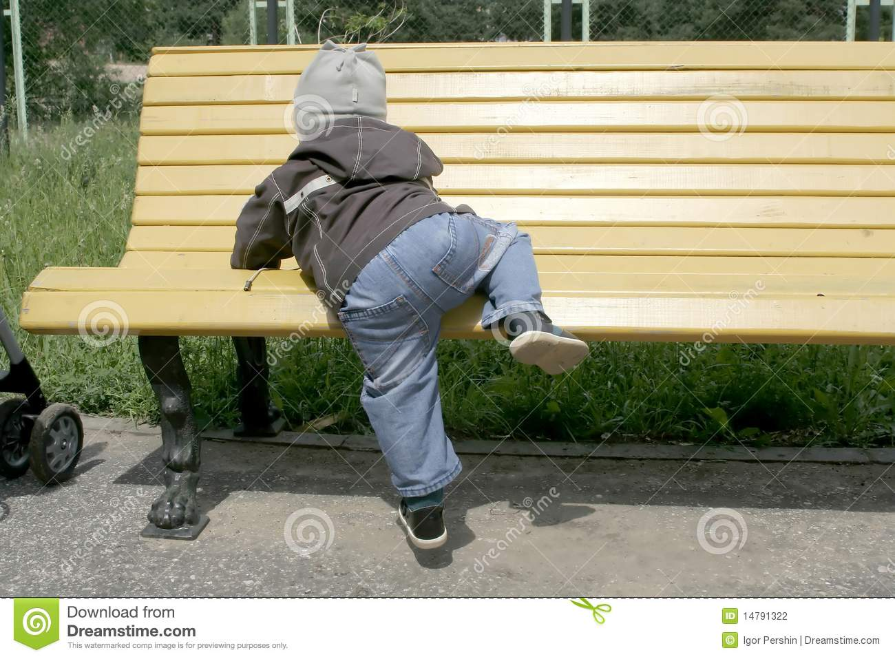 Toddler Climbing On Bench Stock Photo Image Of Clambering