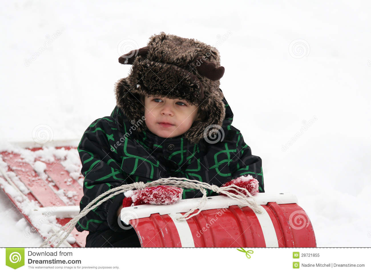Toddler With Furry Hat On Toboggan Stock Image - Image of playing ... bcde99f4eff