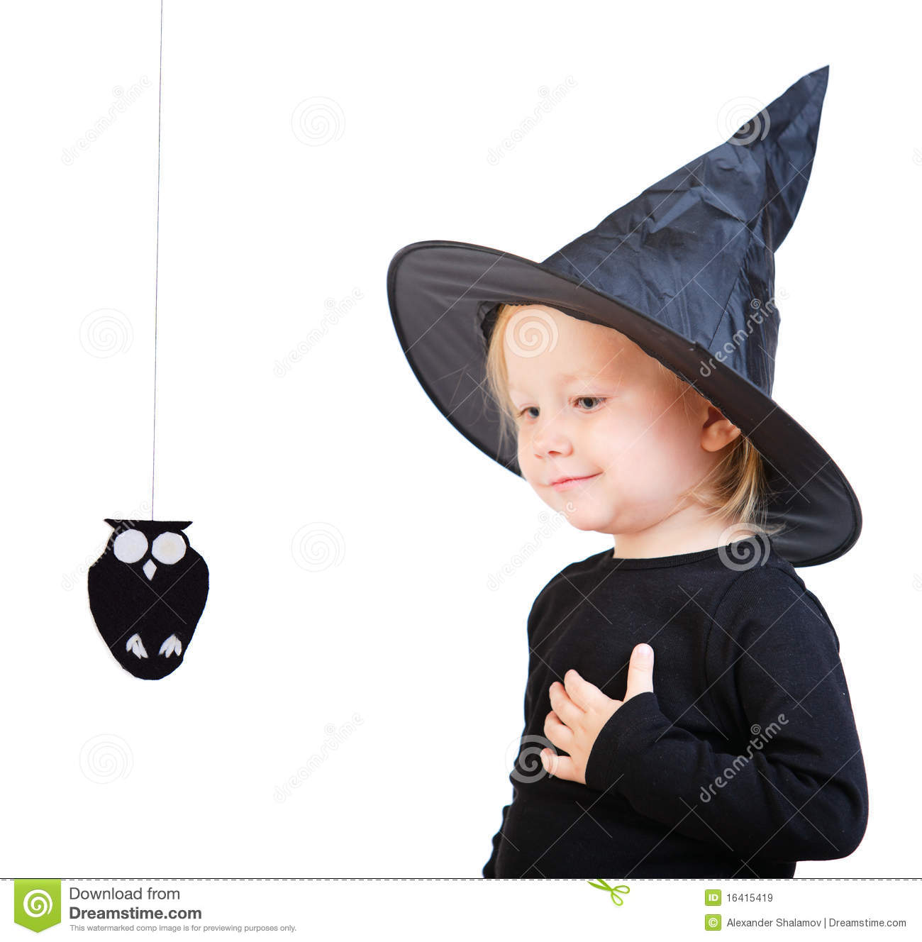 Toddler Girl In Black Little Witch Costume Royalty Free Stock ...