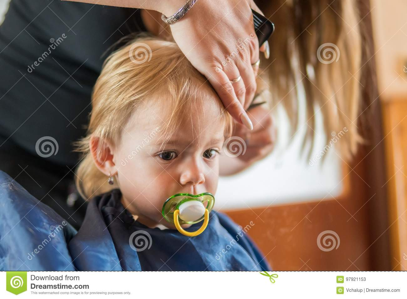 Toddler Girl Is Getting Her First Haircut Stock Image Image Of