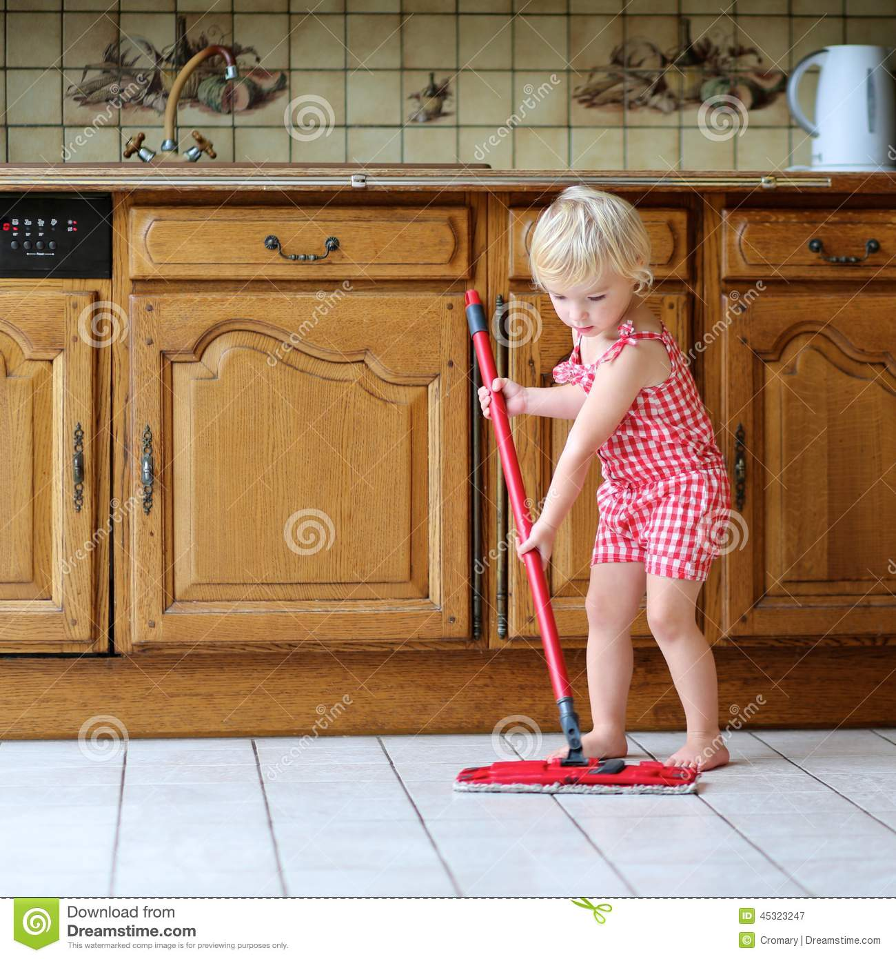 Kitchen Floor Cleaners Toddler Girl Mopping Kitchen Floor Stock Photo Image 45323247