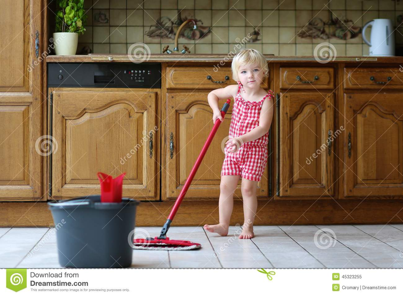 Kitchen Floor Mop Toddler Girl Mopping Kitchen Floor Stock Photo Image 45323255