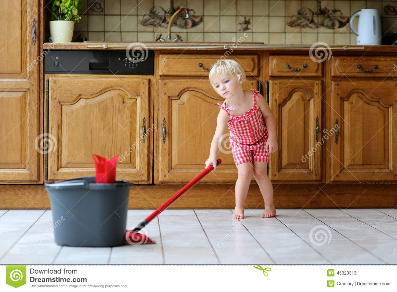 Lovely Toddler Girl Mopping Kitchen Floor Stock Photos Good Looking