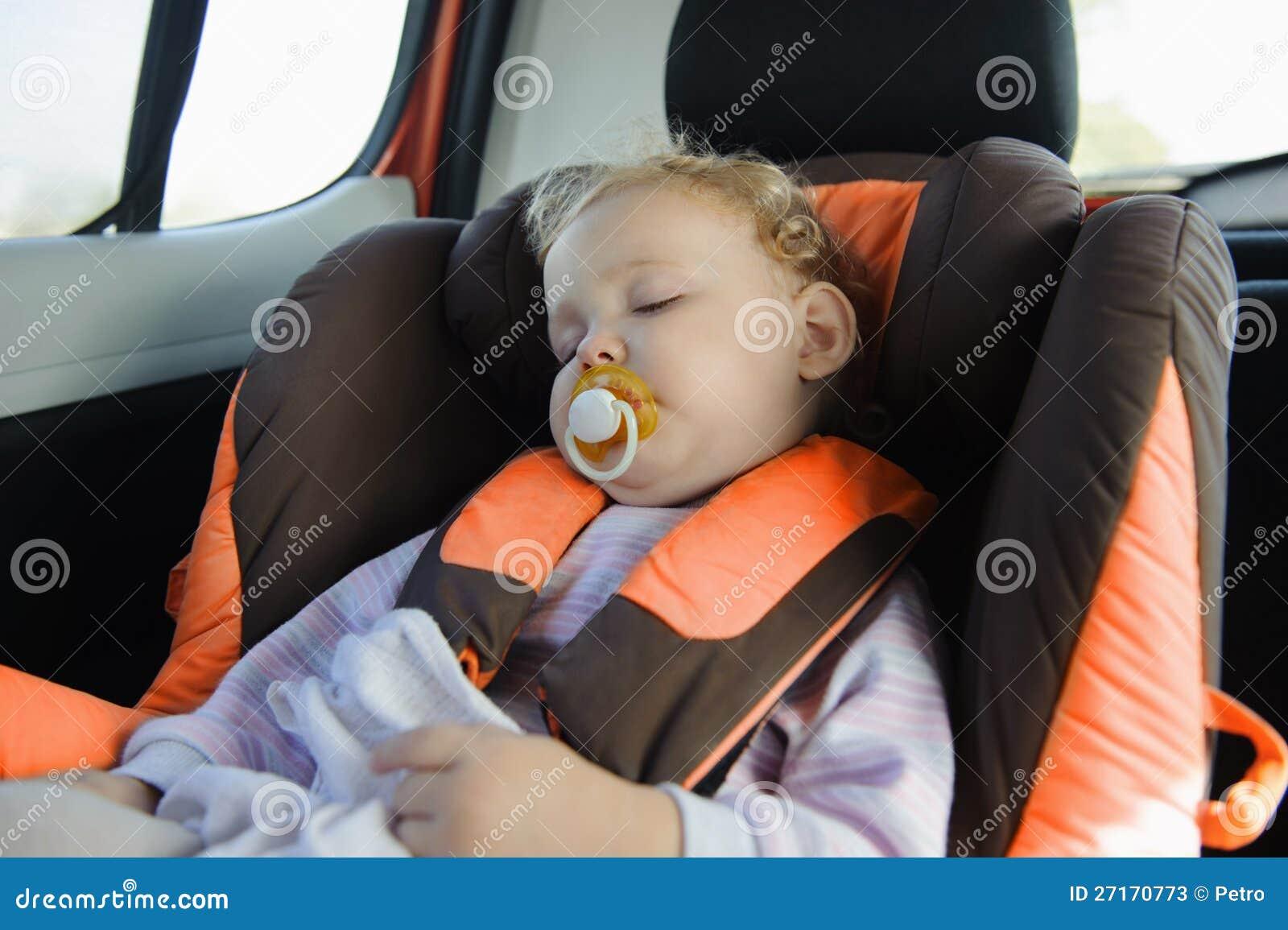 Toddler Girl Sleeping In Baby Car Seat
