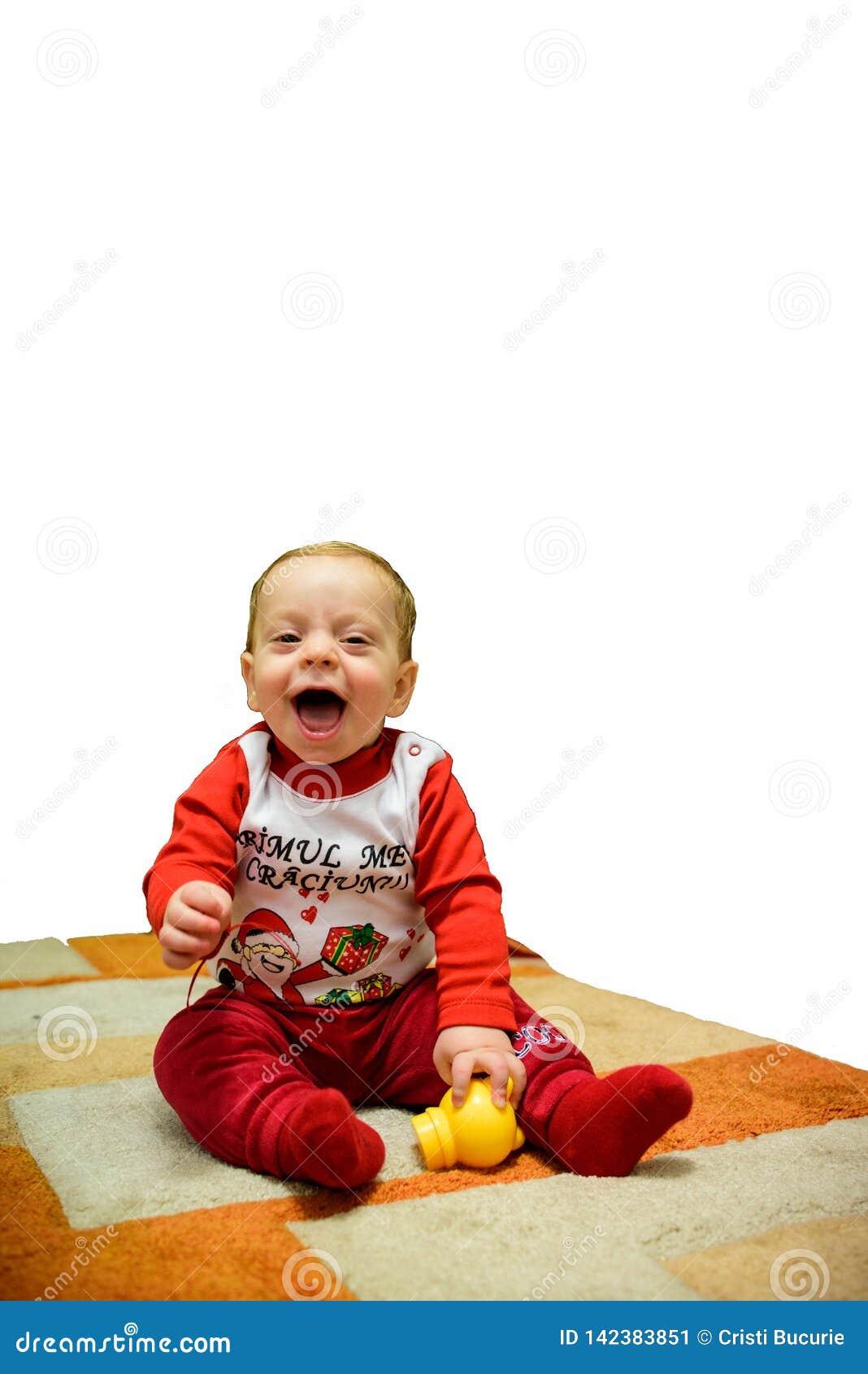 Toddler Glückliches Kind Lächelnder blonder Junge bereit zu spielen Getrennt