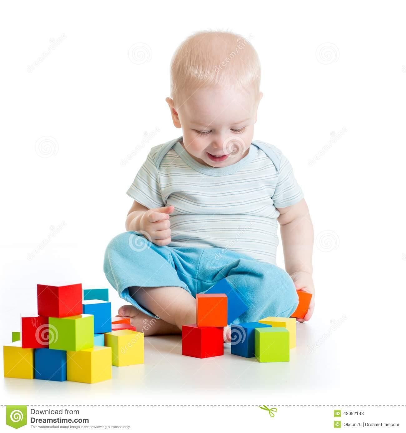 Boy Toddler Toys : Toddler kid boy playing wooden toys stock photo image