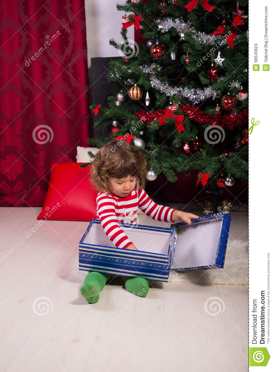 Toddler Opening Christmas Gifts Stock Photo Image Of Caucasian