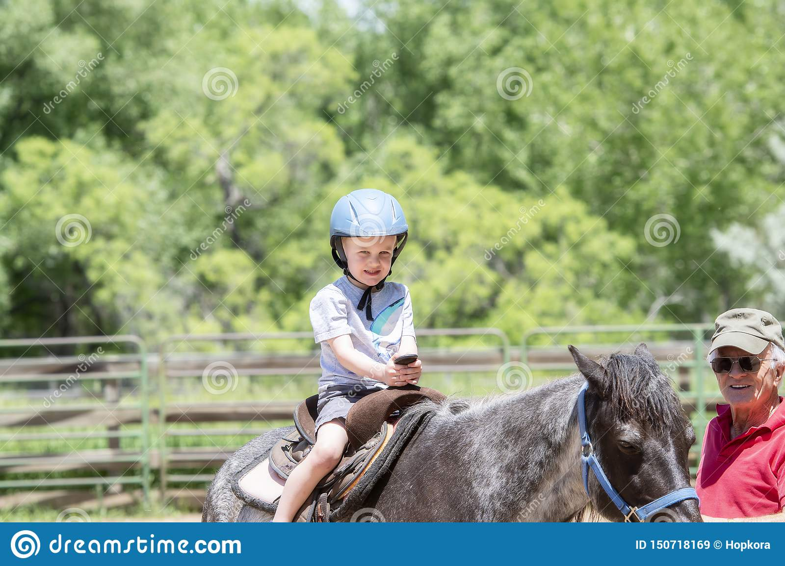 Toddler with a Safety Helmet on Goes on a Pony Ride at a Local Farm with his Horse Being Led Grandfather