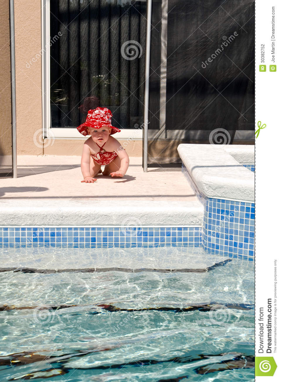 toddler swimming pool safety stock photo image of daughter innocence 30382752