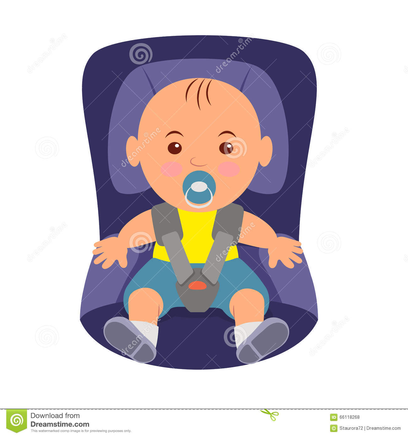 Toddler Wearing A Seatbelt In The Car Seat Illustration Of Road Safety Child