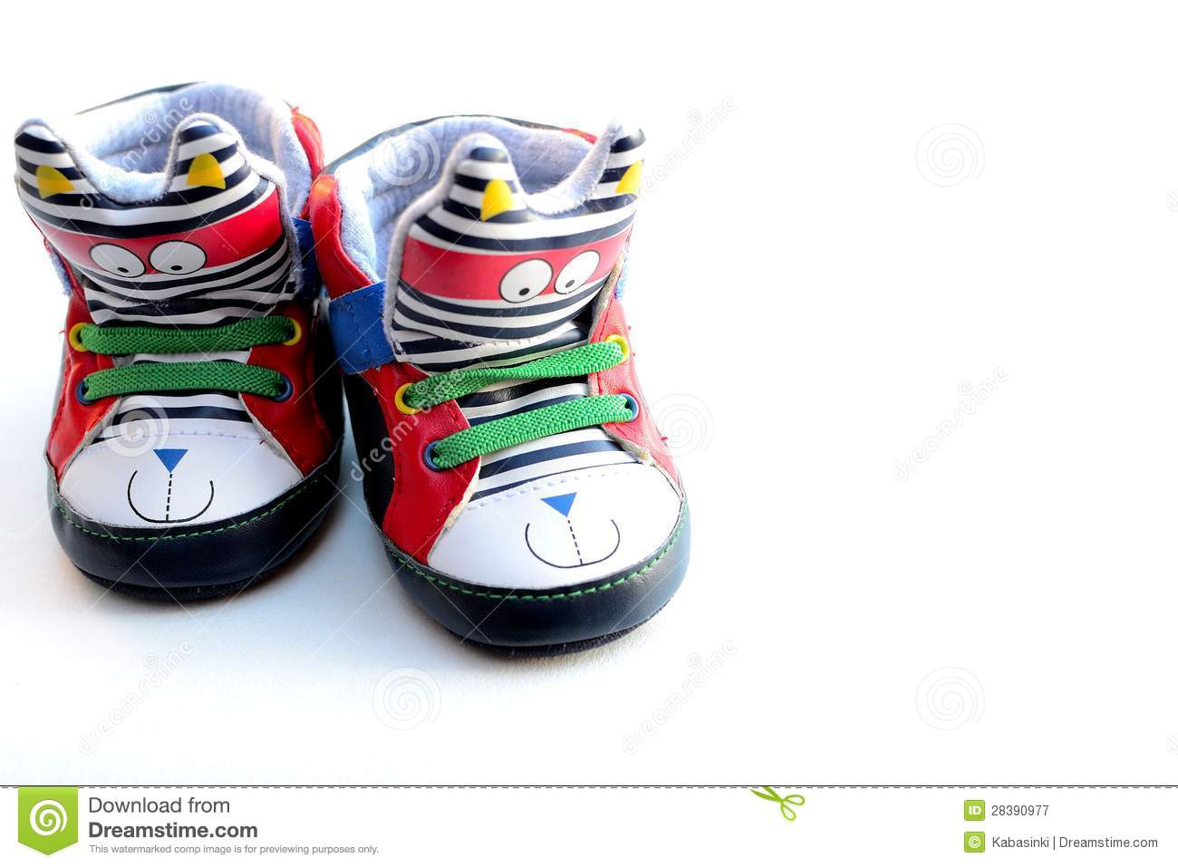 Funky toddlers shoes on isolated white background