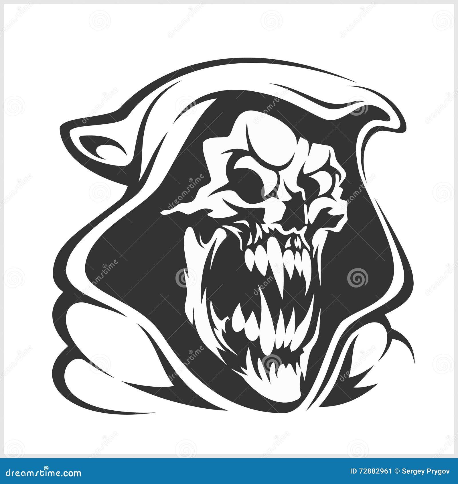 Todeszeichenvektor Horror, schlechte Sense, Geistskelettillustration