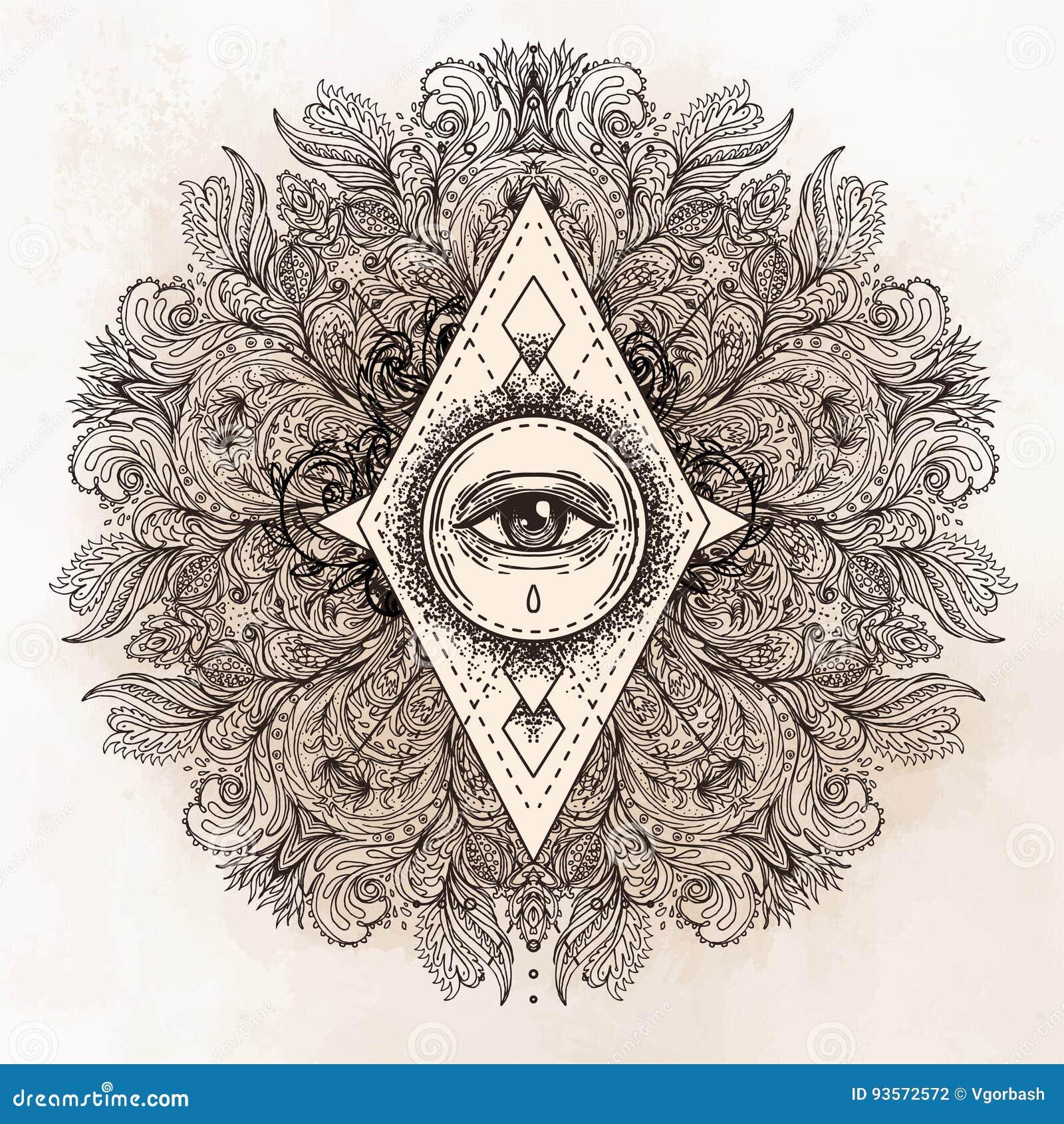Todo el ojo que ve en modelo redondo adornado de la mandala Místico, alquimia,