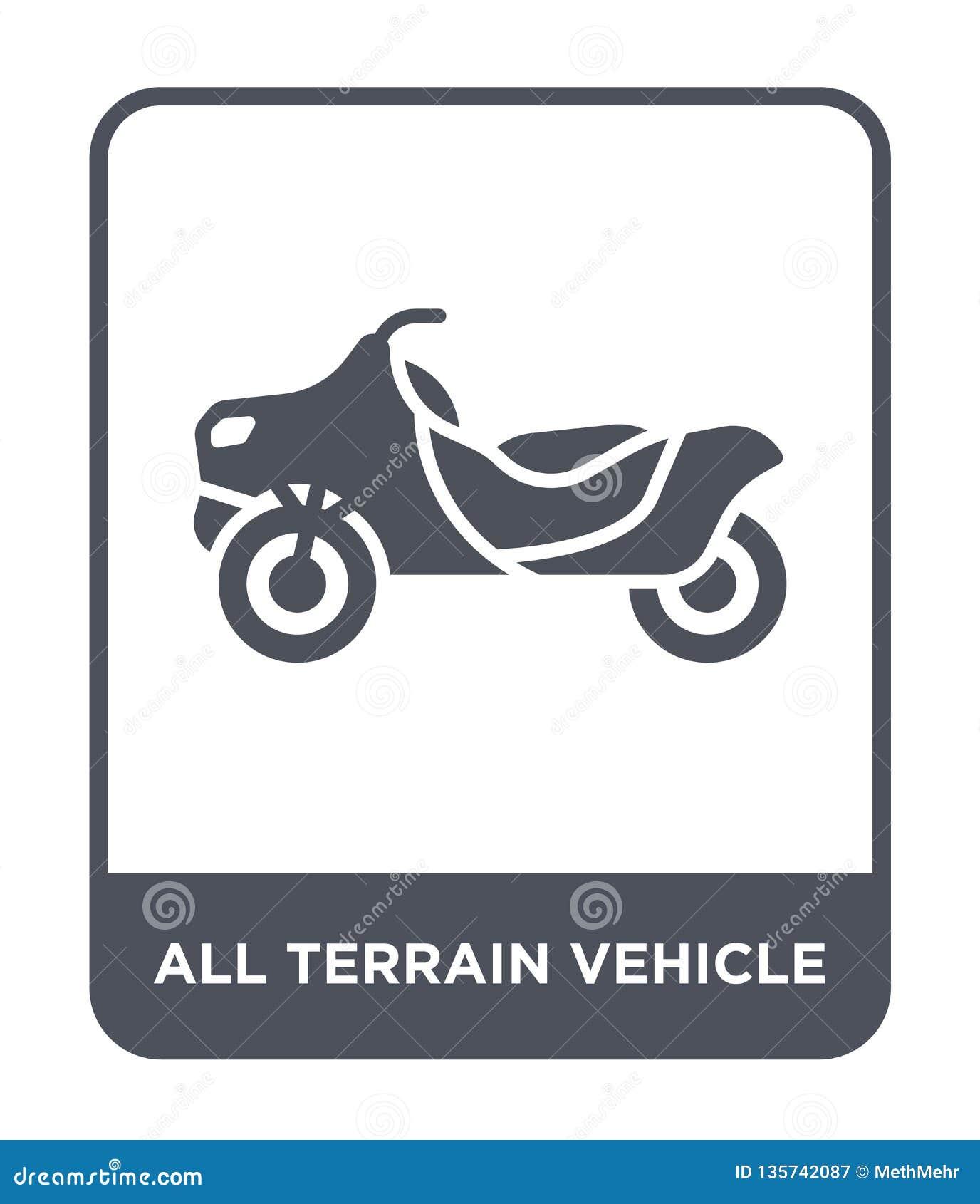 Todo o ícone do veículo do terreno no estilo na moda do projeto todo o ícone do veículo do terreno isolado no fundo branco todo o