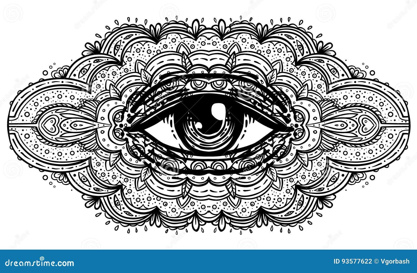 Todo o olho de vista na mandala ornamentado inspirou o teste padrão Místico, alche