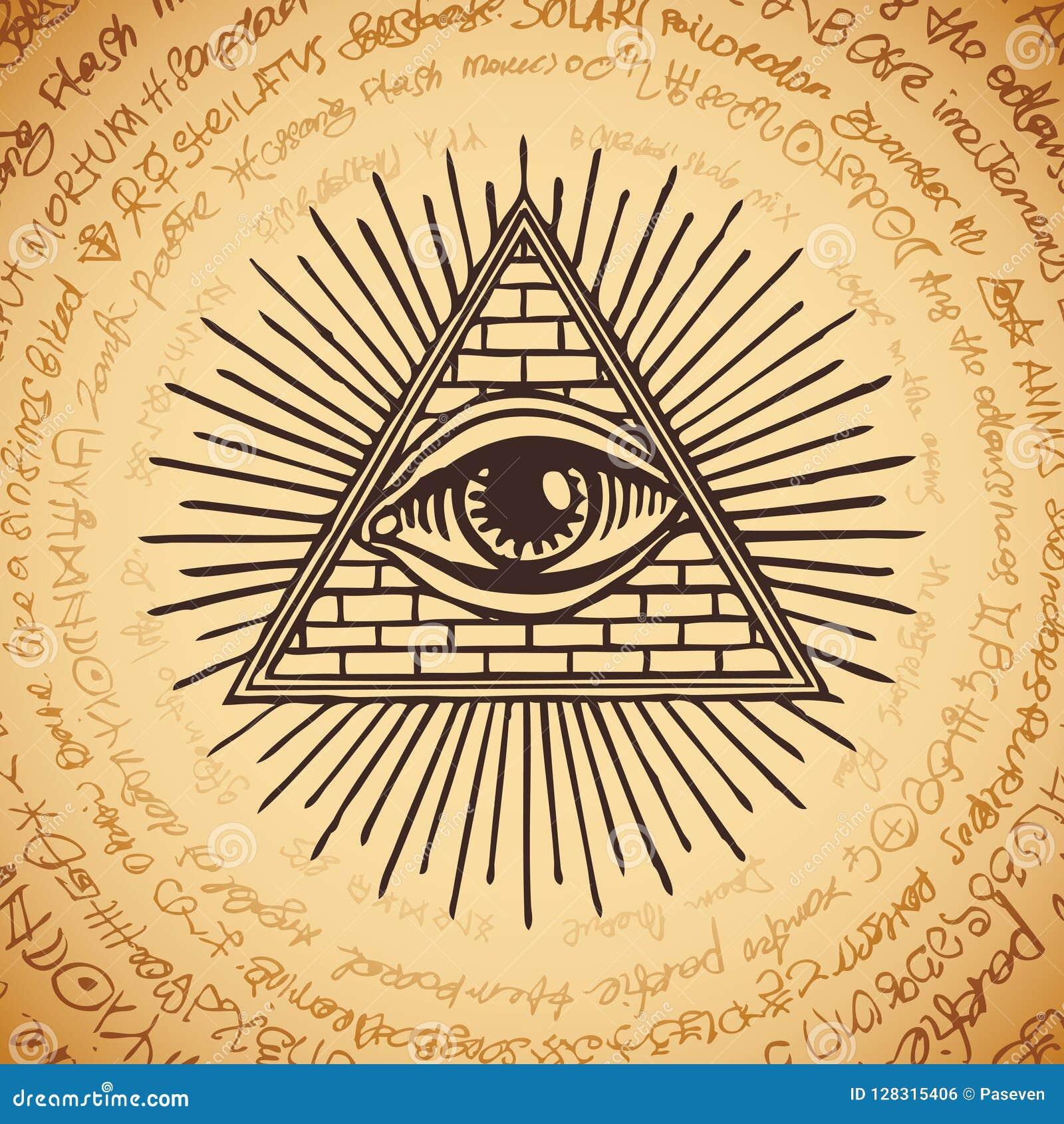 Todo-ver El Ojo De Dios Dentro De La Pirámide Del Triángulo ...
