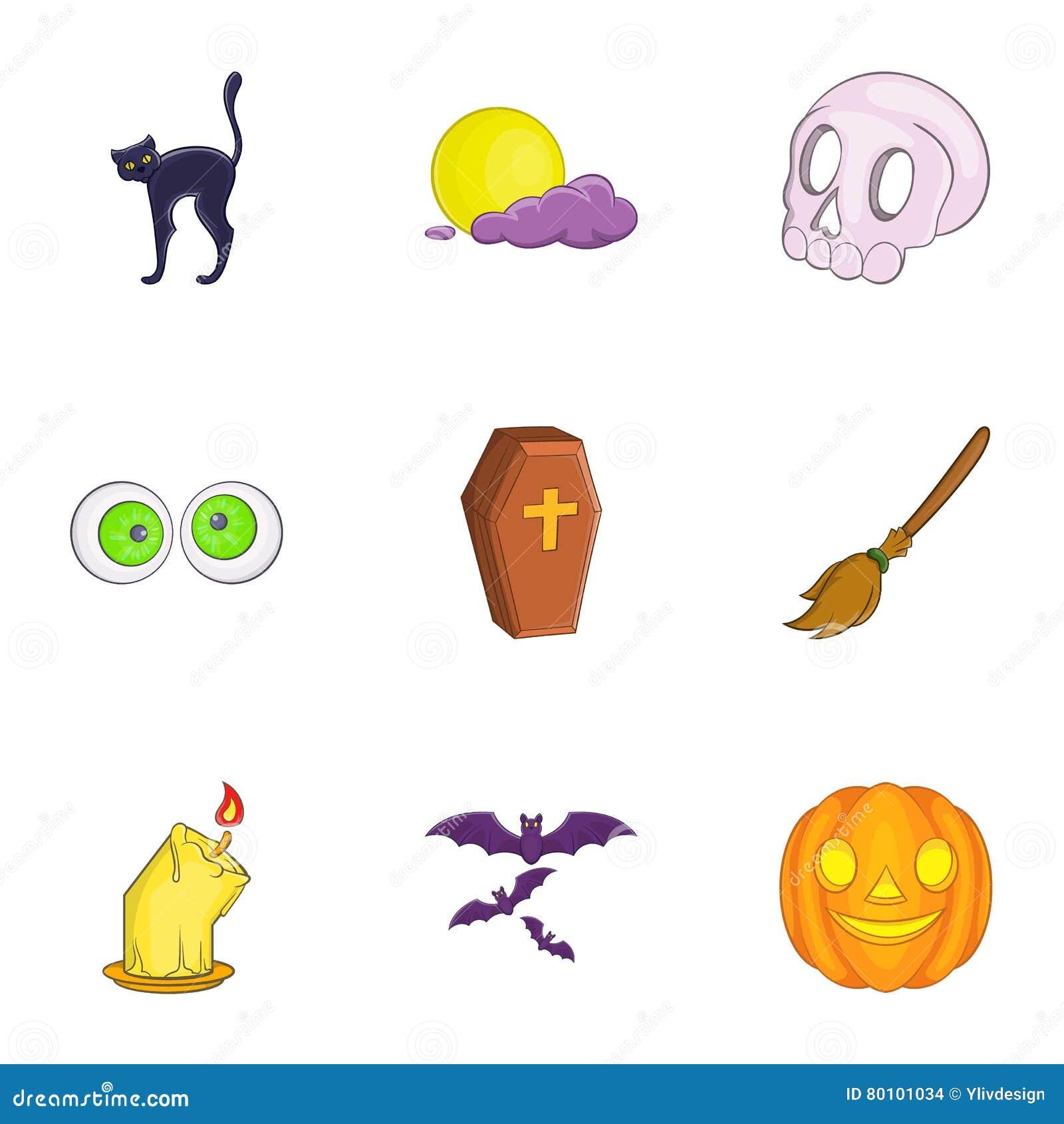 Todos os ícones do dia de Saint se ajustaram, estilo dos desenhos animados