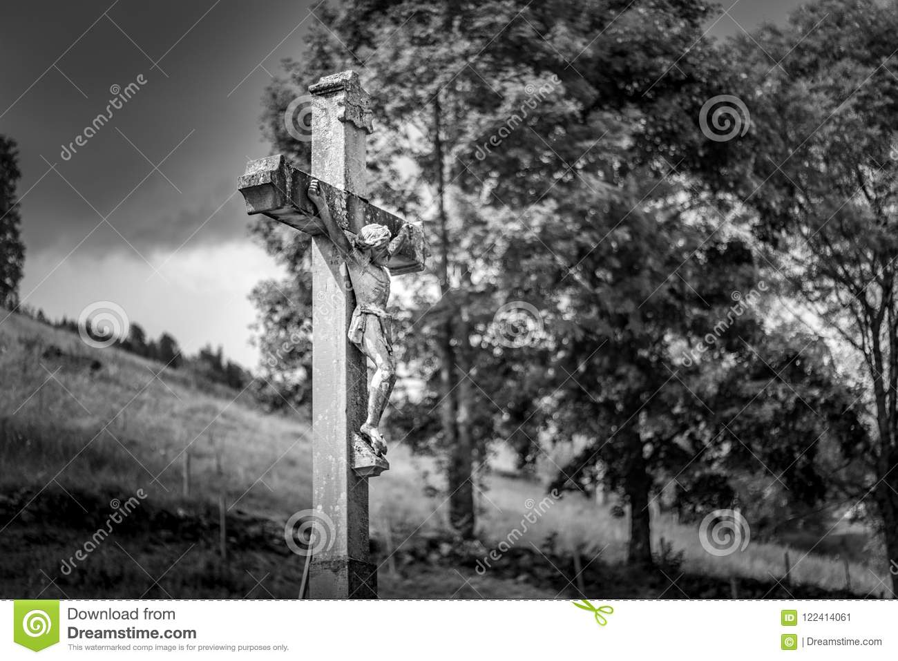 TODTNAU, GERMANY - JULY 20 2018: Christ Cross Along a Hiking Trail in the Beautiful Todtnau Black Forest Germany