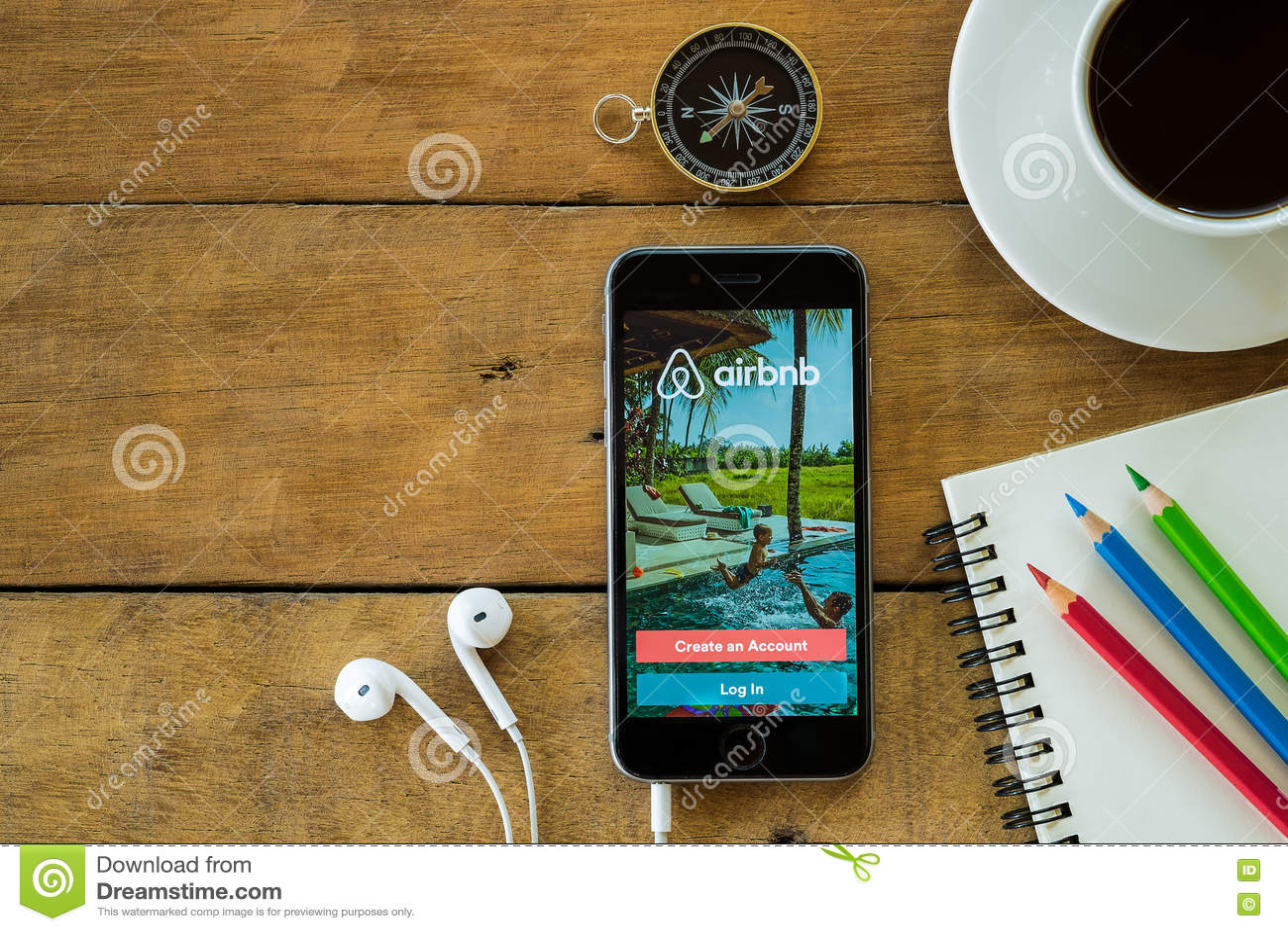 Toepassing van Iphone6s de open Airbnb