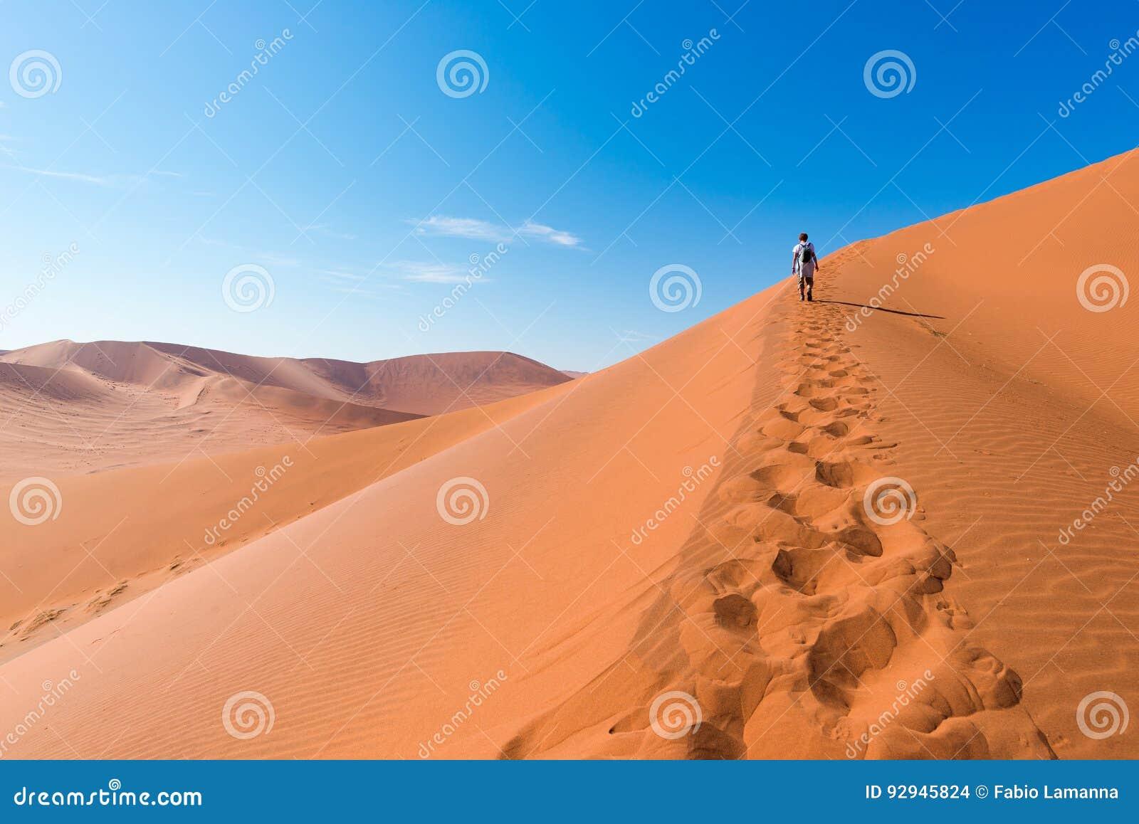 Toerist die op de toneelduinen van Sossusvlei, Namib-woestijn, het Nationale Park van Namib Naukluft, Namibië lopen Middaglicht a