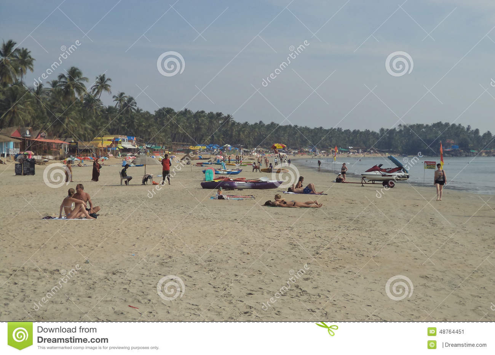Toeristen bij Palolem-Strand, Goa, India