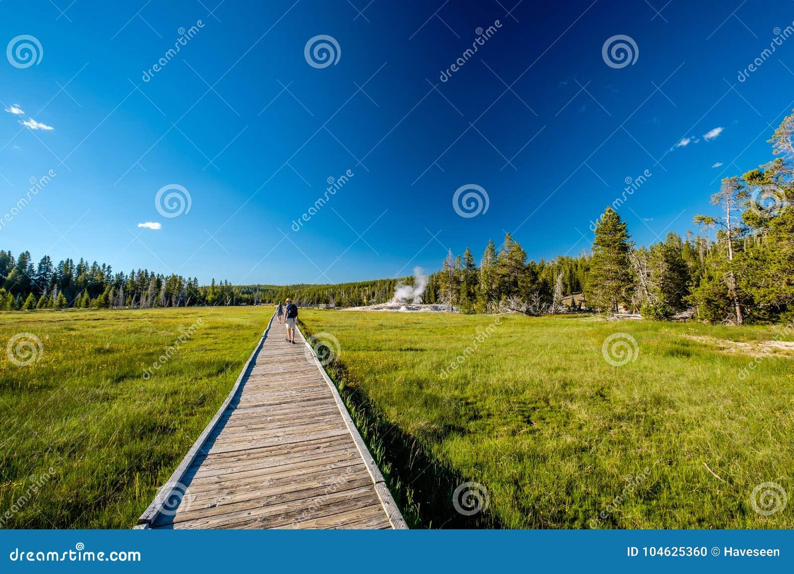 Download Toeristen Die Met Rugzak In Yellowstone Wandelen Stock Foto - Afbeelding bestaande uit toerist, spring: 104625360