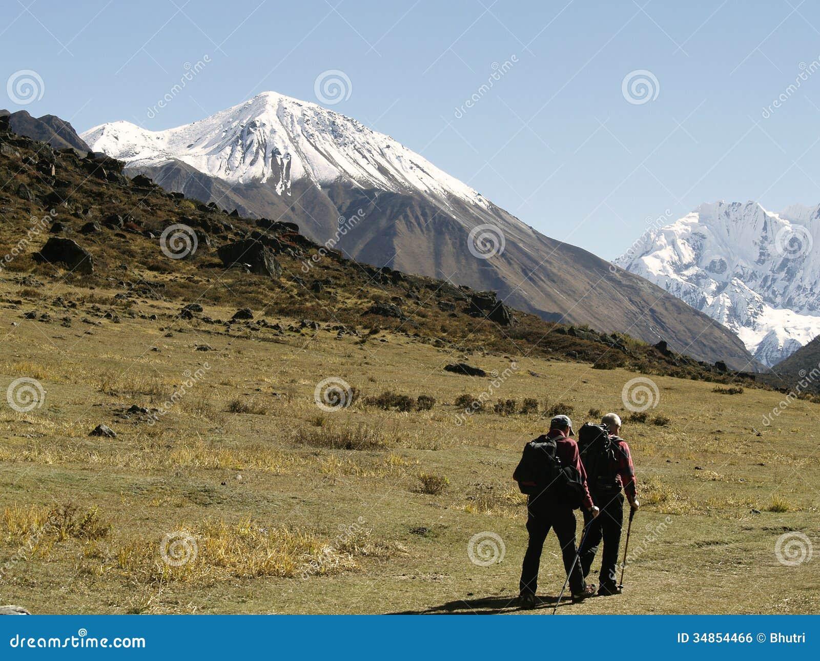 Toeristen in Langtang-Trekking