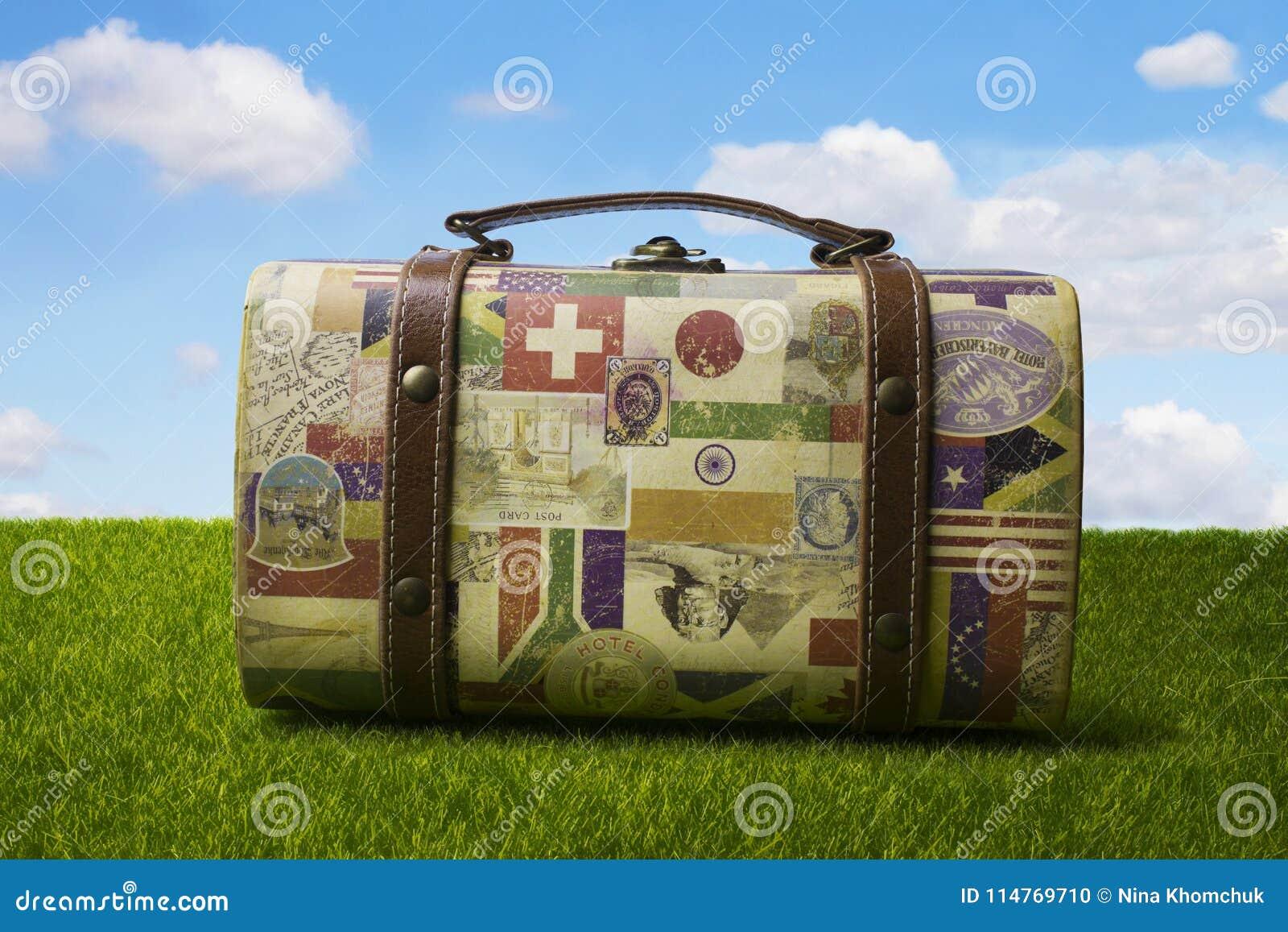 Toeristen retro koffer voor het reizen