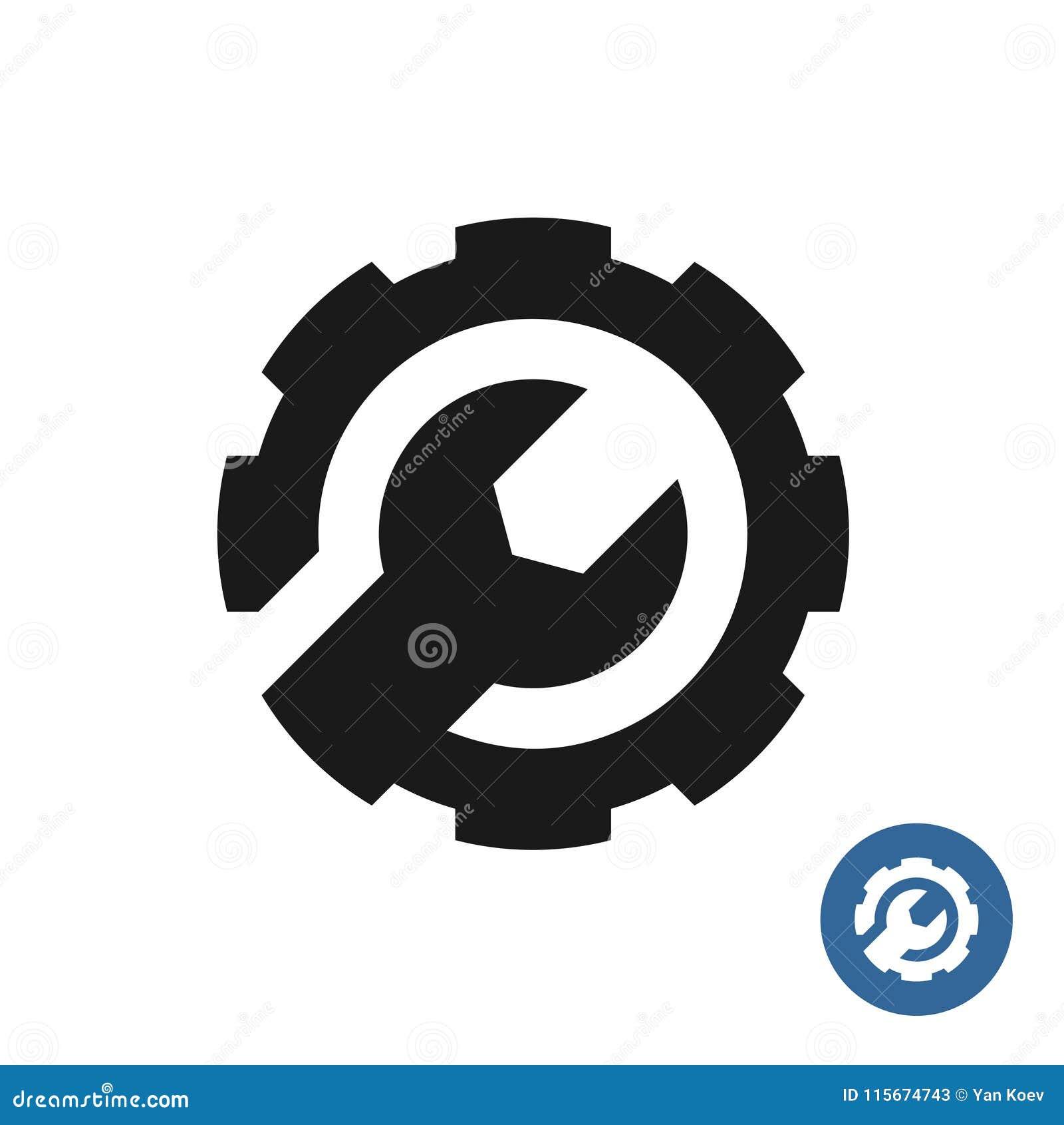 Toestel en moersleutelpictogram Het embleem van de de dienststeun