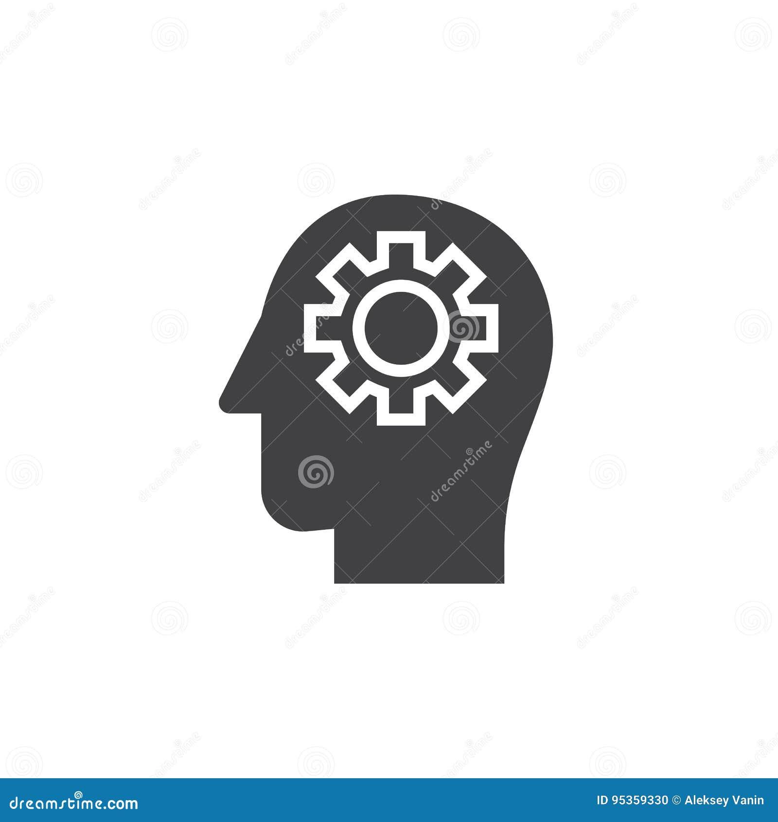 Toestel in hoofdpictogram vector, gevuld vlak teken, stevig pictogram