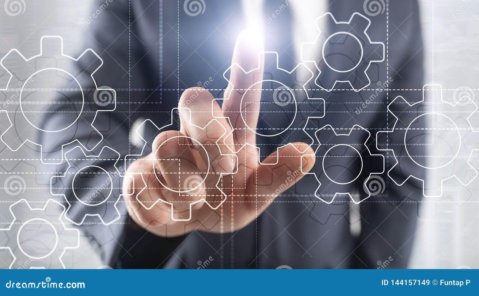 Toestellenmechanisme, digitale transformatie, gegevensintegratie en digitaal technologieconcept