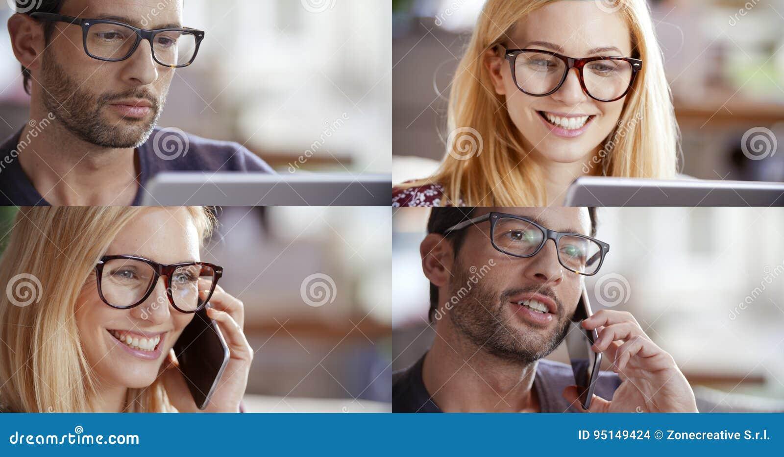 Toevallige vrouw en man reeks, onderneemster die, zakenman door smartphone spreken en tablet gebruiken om Internet te doorbladere
