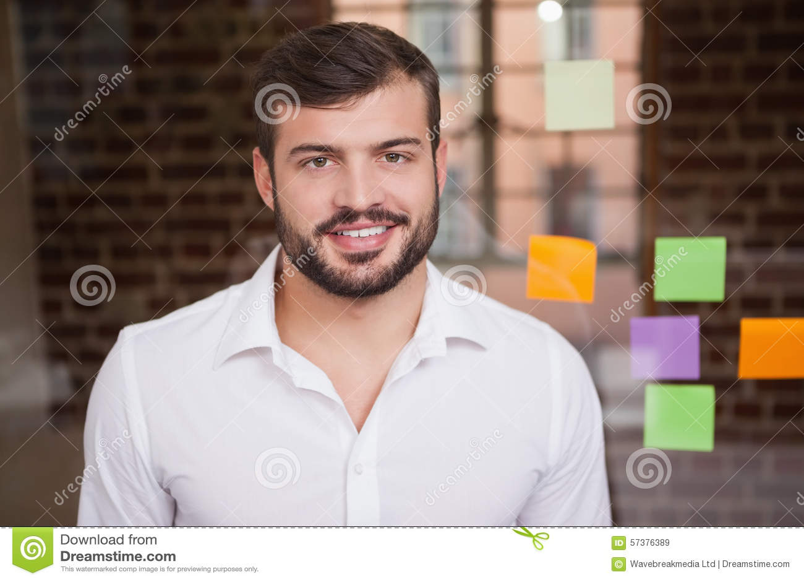 Toevallige zakenman die bij camera glimlachen