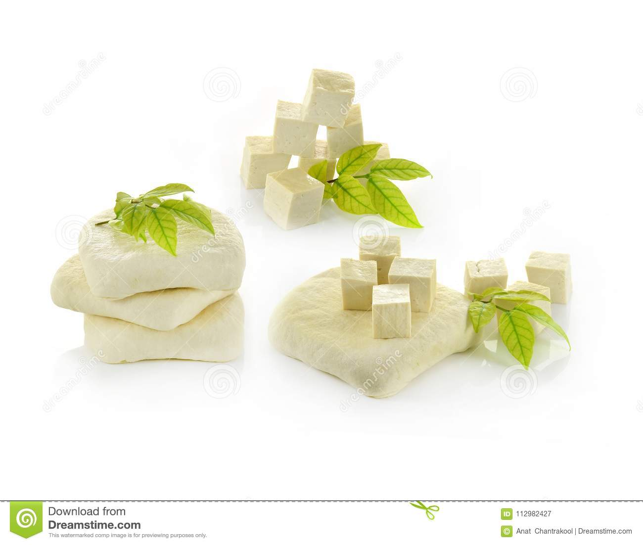 Tofu cheese on white background